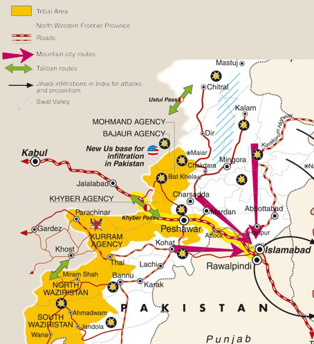 Map of possible routes of attacking Islamabad by Taliban