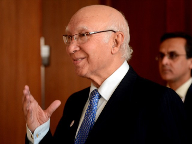 Dossiers over Indian involvement in Pakistan contain sufficient information: Sartaj Aziz