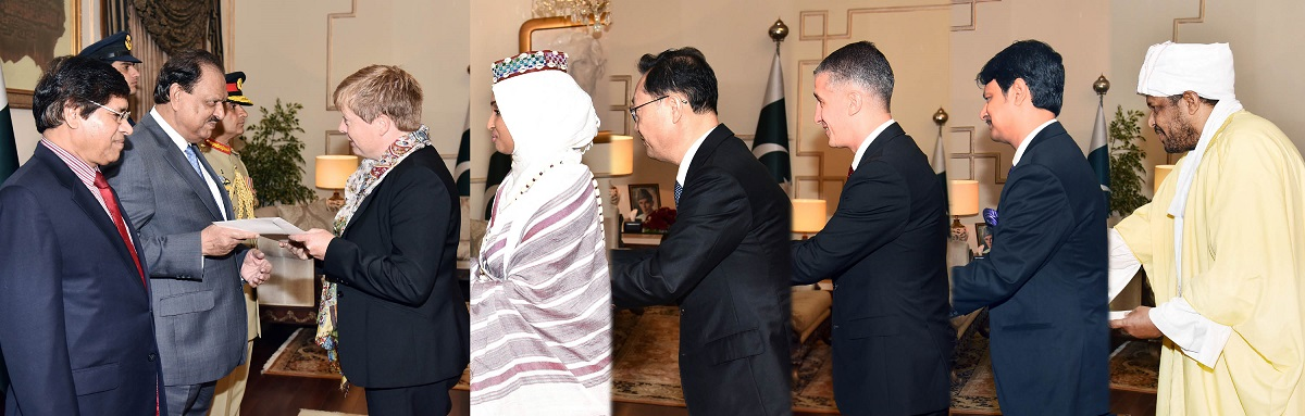 ENVOYS-DESIGNATE OF SWEDEN, SOMALIA, REPUBLIC OF KOREA (SOUTH KOREA), AZERBAIJAN, BANGLADESH AND SUDAN PRESENTING THEIR CREDENTIALS TO PRESIDENT MAMNOON HUSSAIN IN A SPECIAL CEREMONY HELD AT THE AIWAN-E-SADR, ISLAMABAD ON JULY 14, 2016.
