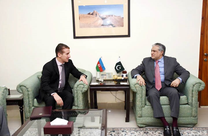 AMBASSADOR OF AZERBAIJAN ALI ALIZADA CALLED ON FEDERAL MINISTER FOR FINANCE SENATOR MUHAMMAD ISHAQ DAR IN ISLAMABAD ON SEPTEMBER 2, 2016.