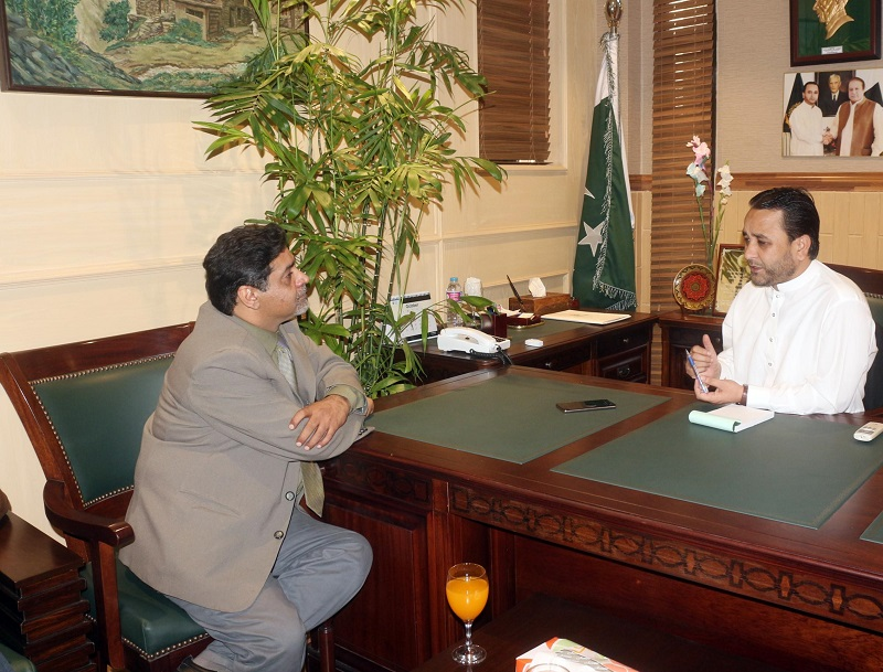 Chief Minister Gilgit-Baltistan Hafiz Hafeez-ur-Rehman during interview with DND Chief Editor Agha Iqrar Haroon
