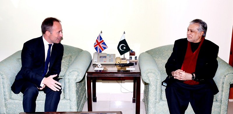 British High Commissioner Thomas Drew called on Finance Minister Senator Muhammad Ishaq Dar in Islamabad on December 31, 2016.