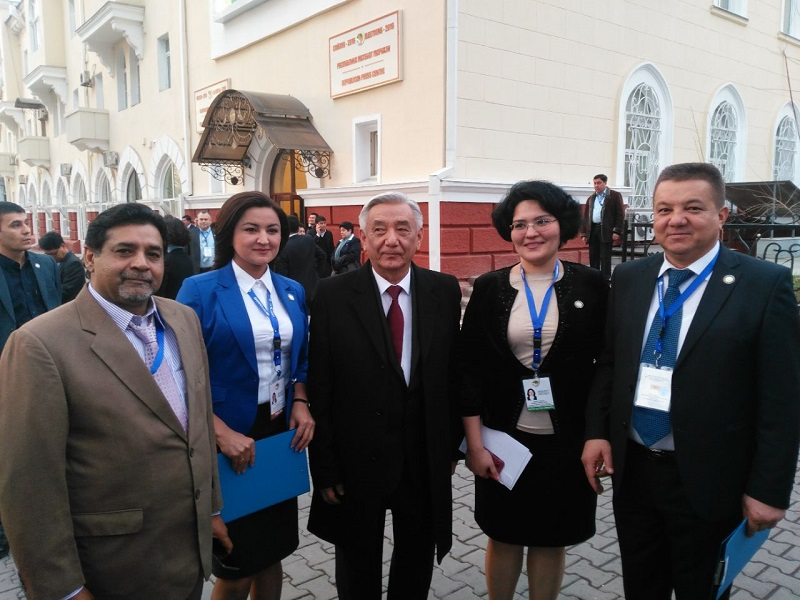 Head of Election Commission of Uzbekistan Mirza-Ulugbek Abdusalomov with international media after announcing election results
