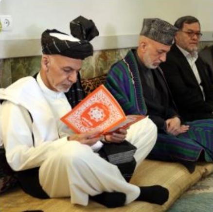 President Ashraf Ghani and former President mourning over Balkh Attack