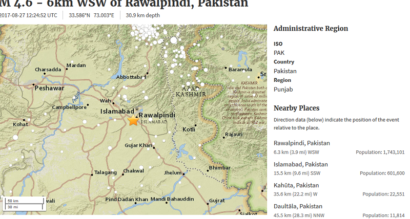 Magnitude 5.0 natural disaster jolts Islamabad, other cities