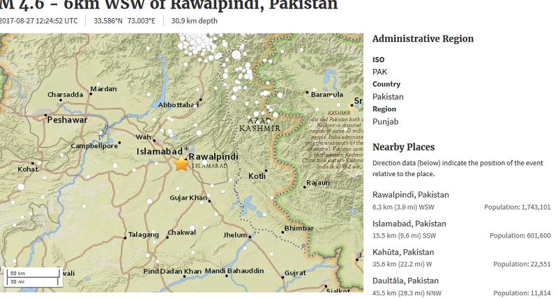 Quake jolts parts of northern Punjab, KP