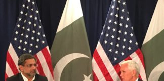 PM Abbasi with US vice president Mike Pence at UNGA