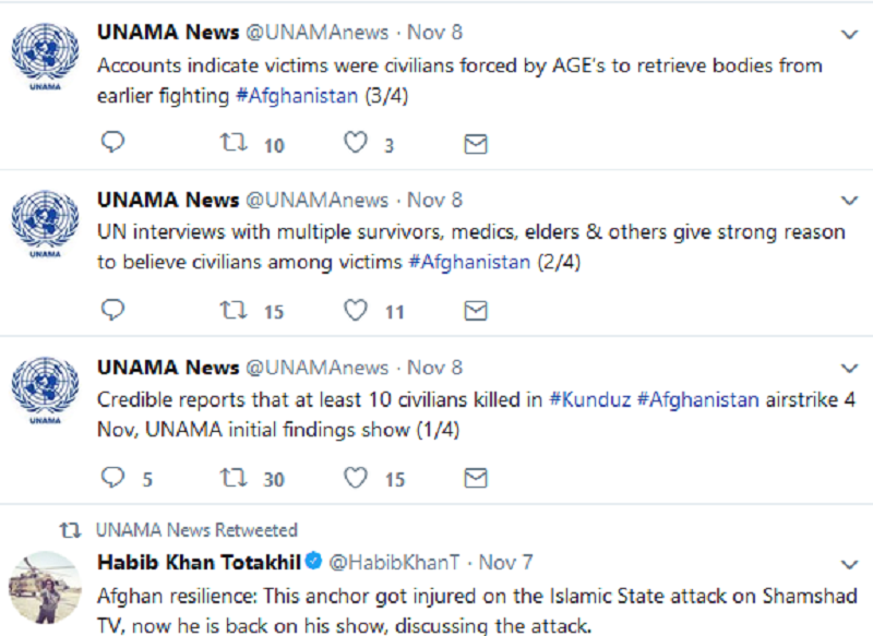 It is pertinent to mention that the United Nations office in Afghanistan confirmed that 10 civilians were killed in an airstrike launched by the US in Kunduz province