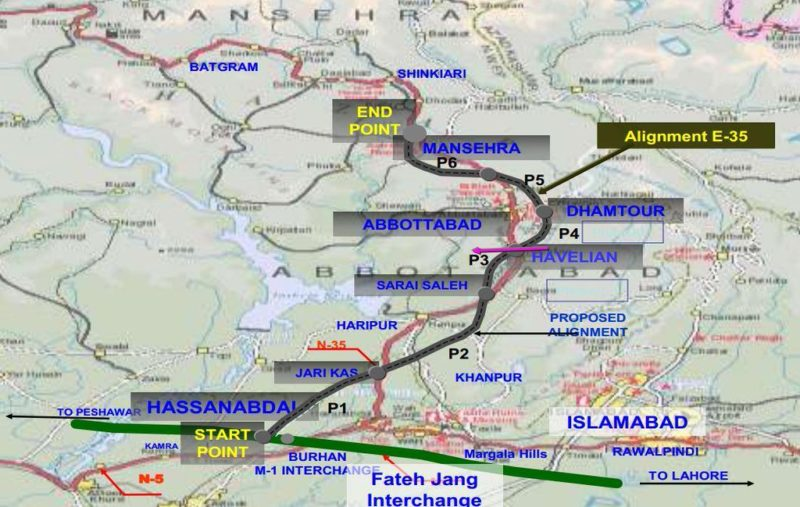 Map of Hazara Motorway inaugurated