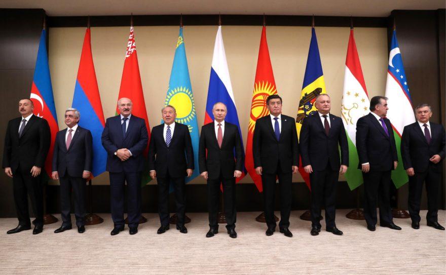 Ilham Aliyev, Serzh Sargsyan, Lukashenko, Nursultan Nazarbayev, Sooronbay Jeenbekov, Igor Dodon, Emomali Rahmon, Shavkat Mirziyoyev.