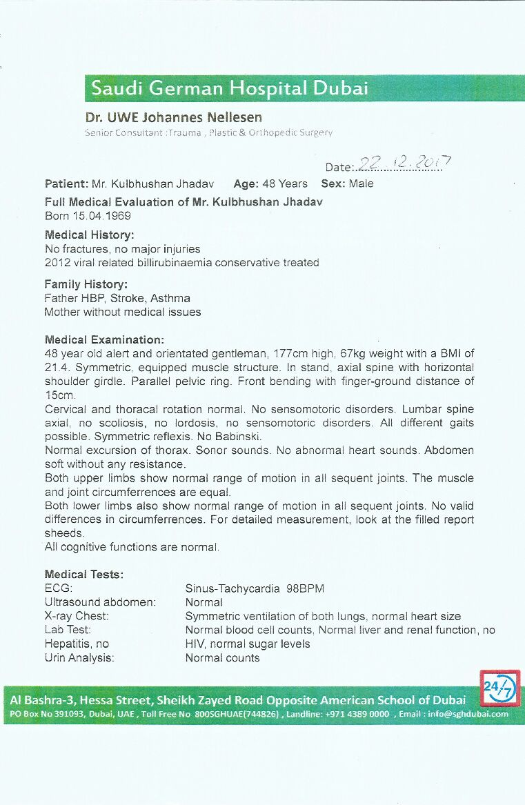 Medical Report of Indian Spy Kulbhushan Jadhav