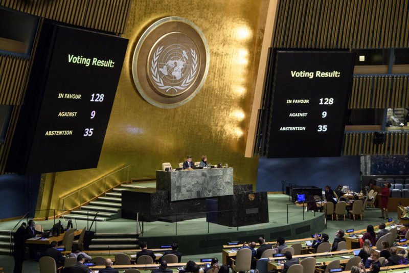 US lost voting in UN General Assembly over Jerusalem issue