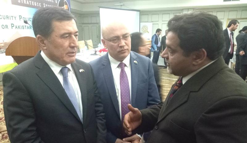 Vladimir Norov with Editor Dispatch News Desk News Agency Agha Iqrar Haroon and Ambassador of Uzbekistan in Pakistan Furkat Sidikov