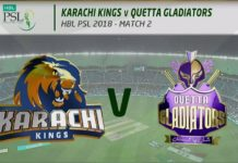 PTV Sports Live HBL PSL 2018; Karachi Kings vs Quetta Gladiators; Lahore Qalandars vs Multan Sultans