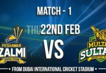 PTV Sports Live HBL PSL 2018 Peshawar Zalmi vs Multan Sultans