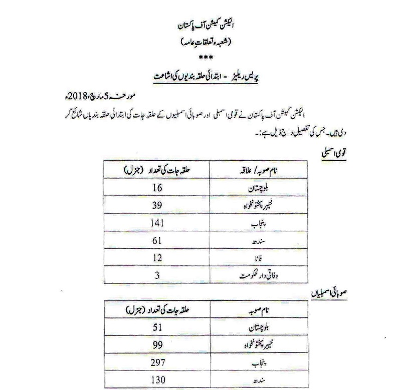 Complete list of National Assembly constituencies for General Elections 2018