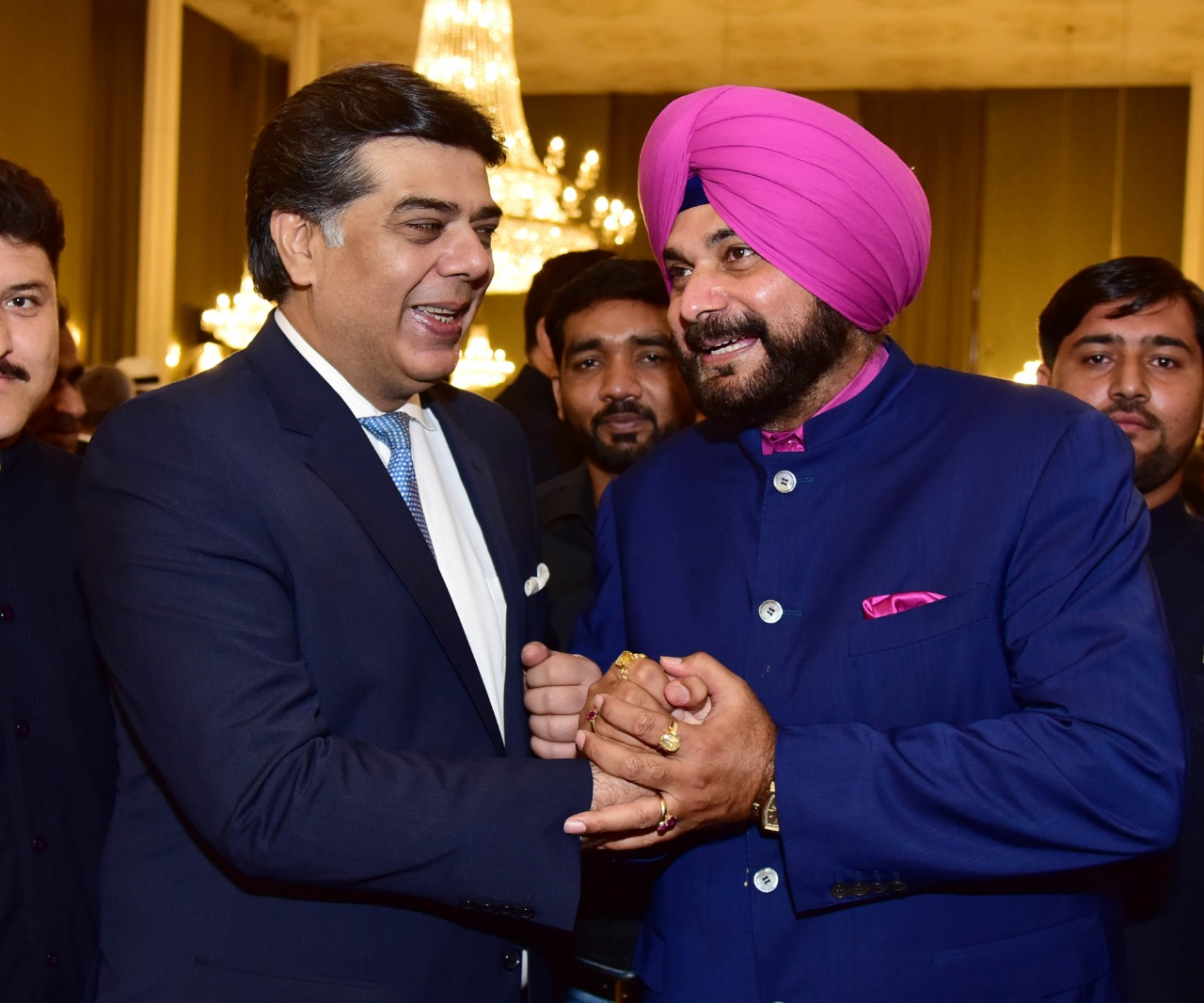 Navjot Singh Sidhu with Federal SEcretary of Information and Broadcasting of Pakistan Sardar Ahmad Nawaz Sukhera