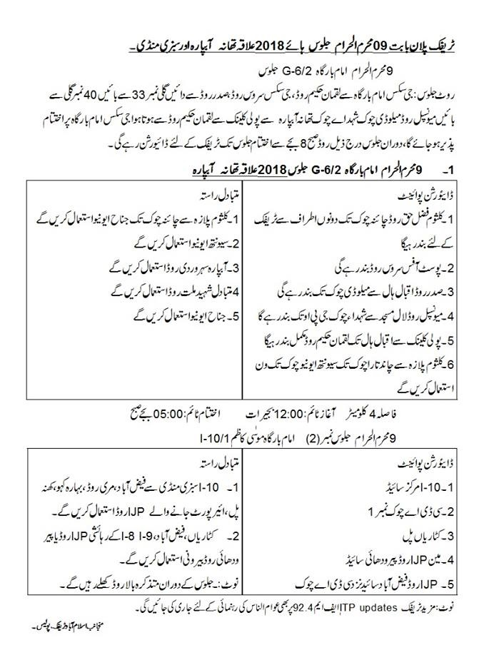 Islamabad traffic plan devised for 9th Muharram processions