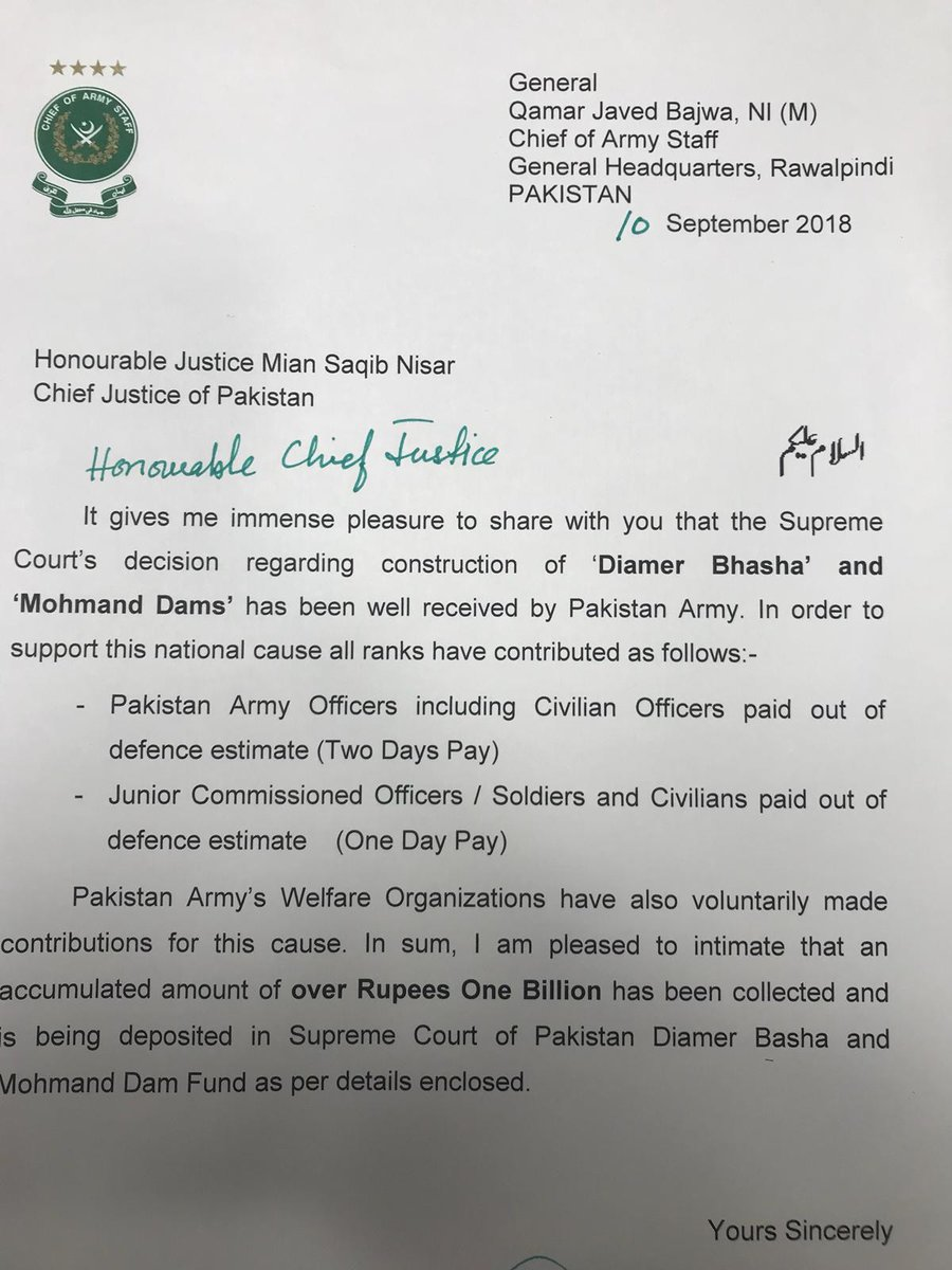 Pakistan army donates over Rs one billion for Dams Fund
