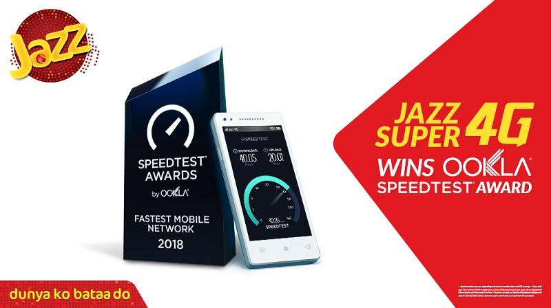 Jazz wins Pakistan's fastest mobile network Speedtest award from Ookla