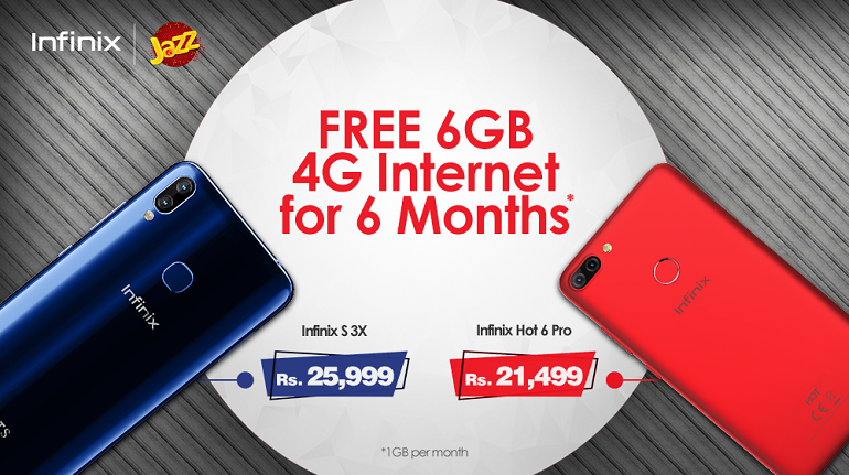 Purchase Infinix S3X or Hot 6 Pro and Get Jazz 6GB Free Internet Data for 6 Months