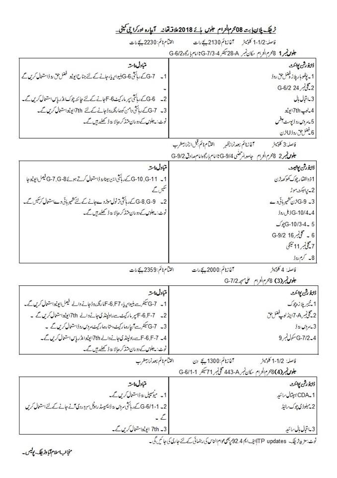Traffic plan for 8th Muharram processions in Islamabad