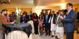 US Chargé d'Affaires a.i. Ambassador Paul Jones speaks to newly elected leaders of the Pakistan-US Alumni Network in Islamabad
