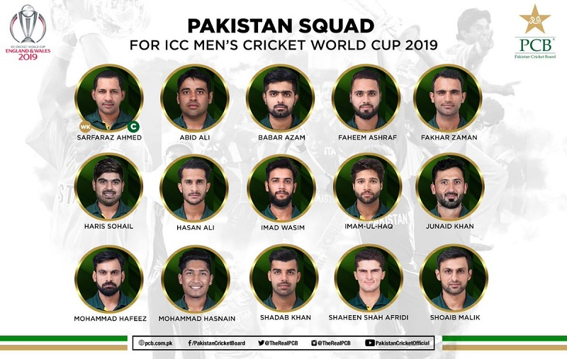 Pakistan announce their Squad for ICC Cricket World Cup 2019; Mohammad Amir out, Mohammad Hasnain in
