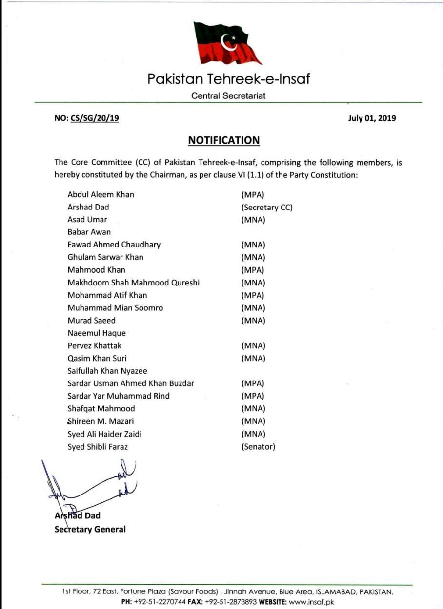PTI Constitutes 21-Member Core Committee