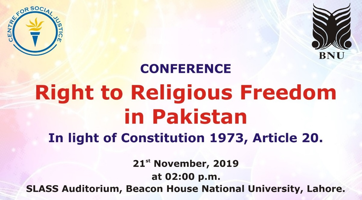 """Centre for Social Justice & BNU organize Conference on """"Right to Religious Freedom in Pakistan"""""""