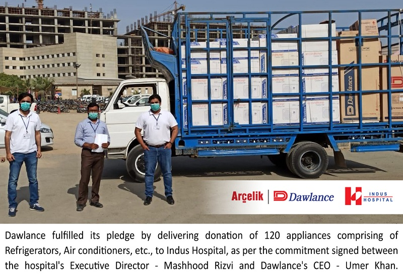Dawlance - Dawlance has completed the delivery of its appliances ranging from refrigerators, air-conditioners, electric kettles, microwave ovens and water dispensers as a generous donation to The Indus Hospital (TIH). These appliances will help TIH in the nation's fight against the threat of Coronavirus (COVID-19) pandemic.