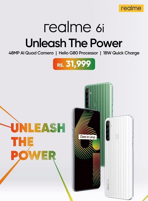 realme 6i - realme 6i comes in two young colors – Green Tea and White Milk at Rs 31,999. The smartphone will be available in Pakistan on sale by April 29, 2020.