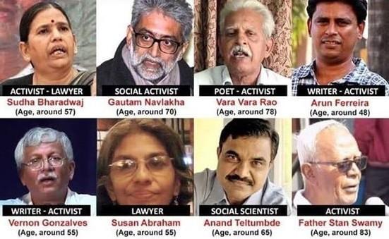 Varavara Rao, Anand Teltumbde, Shoma Sen and Sudha Bharadwaj, Gautam Navlakha