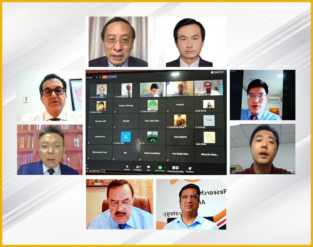 """CGSS - The Islamabad-based Center for Global & Strategic Studies (CGSS) on Monday organized a Special Webinar on """"China's Quest for Peaceful Coexistence & Mutual Development"""". The aim of the Webinar was to interact with prominent Chinese experts to discuss the recent Sino- Indian situation and learn about the latest developments in the Belt and Road Imitative as well as China's future economic development plans. The President CGSS Major General (retd) Syed Khalid Amir Jaffery commenced the session by welcoming all the participants, especially the Chinese speakers for joining the unique webinar. Major General (retd) Syed Khalid Amir Jaffery stated that China is considered as the biggest threat by the US for unknown reasons. The US is attempting to contain China but this policy is deemed to fail because of the concept of BRI, which has very efficiently countered the containment policy without firing a single bullet. The Director-General China at the Ministry of Foreign Affairs in Islamabad Muhammad Mudassir Tipu emphasized the significance of Pak-China friendship and thanked the Chinese friends for participating in this very timely initiative. Mudassir Tipu stated that there is a need for multilateralism and deeper strategic coordination between Pakistan and China. He also mentioned that he has had the honor of serving in China and China is an all-weather strategic partner of Pakistan. Within Pakistan, there is a general consensus between all political parties, all institutions, and the citizens of the country that Pakistan's closest friend is China and both the counties are Iron Brothers. The Chair Professor Soochow University & Vice President at the Center for China & Globalization in Beijing Victor Zhikai GAO talked about China-India Border Clash and its current status. Victor Zhikai GAO stated that this is a very scary situation as what happened on June 16, reminds us of what happened in 1962. Subsequent to June 16, tensions remained between China and India. Moreo"""