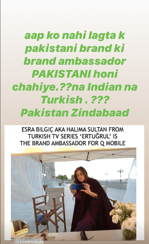 """Great news has surfaced earlier today that the most loved and famous Turkish actress Esra Bilgic has become brand ambassador of QMobile. Esra Bilgic is well-known and crazily admired for her lead role in Turkish series Diriliş: Ertuğrul, aka Halime Sultan. Pakistani fans greatly admire her for her enchanting beauty.  According to the details, Esra Bilgic would be seen as Brand Ambassador of QMobile's View Max Pro series which makes QMobile the first Pakistani brand to have any celebrity from Diriliş: Ertuğrul series on board.  The CEO and Chairman of QMobile, Mr, Zeeshan Akhtar commented that, """"It has always been our vision to bring innovation in Pakistan through our products, technology, and advertising. During the current times, we hope that this project will be a pleasant surprise for the Pakistani audiences and a benchmark for more collaborations of Pakistani brands with global celebrities"""".  Esra Bilgic's Declaration to work with Pakistani Brands  The love of the fans from Pakistan for Esra Bilgic is on the one end and the actress's response came up as a post in Urdu language which turned out to be great surprise for everyone.  Esra Bilgic left her fans from Pakistan in surprise with a post in Urdu language on her Instagram where she hinted that she is all set and willing to work for Pakistani brands.  According to details, in an interview, Esra Bilgic had earlier spilled the beans over her will to work with popular Pakistani brands and she said that she will soon be working on it. Esra revealed this amazing news and shared it with her fans on Instagram in a post written in Urdu language.  Esra Biligic and Peshawar Zalmi  It was hinted by Peshawar Zalmi owner Javed Afridi earlier that Esra Bilgic will be associating with Peshawar Zalmi as brand ambassador however, this race between different brands to proceed with Esra Bilgic as brand ambassador continued and now QMobile won it at first.  Yasir Hussain's Reaction to QMobile'sAnnouncement   The most popular acto"""