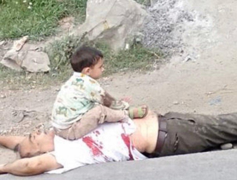Five-year-old toddler telling in this video how Indian forces killed his grandfather in front of him in Sopore city of Indian Occupied Kashmir
