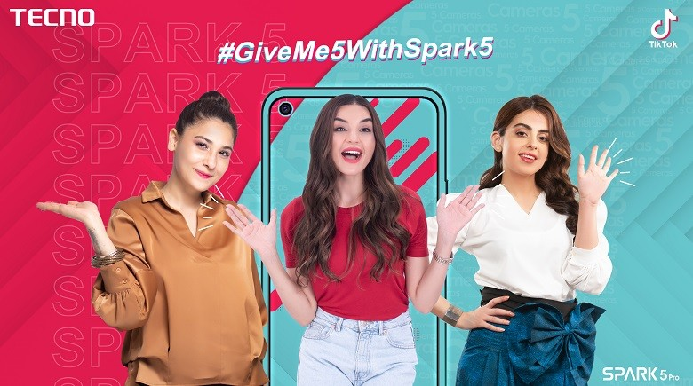 """#GiveMe5withSpark5 - Leading smartphone brand TECNO has finally broadcasted its most awaited challenge #GiveMe5withSpark5 on TikTok dated July 6. This gesture challenge is a fusion of exciting moves starring famous celebrities grooving on its ting-a-lings.  This challenge is already trending tremendously on social media sites including Facebook, Instagram, and Twitter.  TikTok alone has crossed over 100 Million Views of this challenge. This fun activity was initially furthered by 3 heartthrob Pakistani celebrities Hina Altaf, Yashma Gill, and Sadia Khan.  Countless videos and pictures of Celebrities and TikTok divas are circulating on TECNO's official Facebook page, while endorsing this fun challenge. Seeing well-known faces perform this fun activity, people are motivated to copy their moves and re-enact.  No one seems to be missing a chance to win the brand-new Spark 5 Pro. TECNO fans are enthralled to film themselves and unleash their acting skills to receive all the fandom.  The people are getting creative in incredible ways to highlight the magic of digit """"5"""" in the premium Spark 5 Pro while grooving on the melodies of #GiveMe5withSpark5.  Likewise, TECNO's previous TikTok campaigns this one has also proved to be a great success for the company.  If you have not participated in this challenge you can still try your luck by following these 4 simple steps: 1.Open TikTok App; Go to Discover Page & Click the hashtag #GiveMe5WithSpark5  2.Click the Official Video of this challenge to use """"GiveMe5WithSpark5"""" soundtrack 3.Creatively Mimic or Act on the """"GiveMe5WithSpark5"""" melodies 4.Upload video on TikTok with hashtag #GiveMe5WithSpark5 Let's not miss the golden chance of availing the brand-new innovation of TECNO.  The winning prize, SPARK 5 Pro is equipped with 5 cameras, 6.6 inches Dot-in Display, long-lasting 5000 mAh battery and comes in two variants: (128GB ROM + 4GB RAM) for Rs 21,499 & another variant with (64GM ROM + 4GB RAM) in Rs 19, 999."""