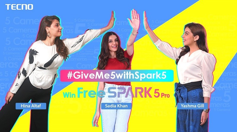 """TECNO - The top-notch smartphone brand TECNO is giving its fans another chance to showcase their talent as the brand is coming up with an exciting TikTok challenge #GiveMe5WithSpark5. The countdown has already begun, and only in 4 days house will be open for all the fans to share their passion and creativity. The collaboration with TikTok will provide TECNO a maximum opportunity to connect with a larger audience entertainingly. The pictures of the famous celebs to broach the challenge has finally been revealed by the brand on their Official TECNO Facebook Page. The challenge is planned to be kicked off with three stunning divas from the industry, charismatic Sadia Khan, talented Hina Altaf, and sensational Yashma Gill. Lately, the gestures are shown by Hina Altaf and Sadia Khan that is further challenged to the fans to replicate the gestures with their friends, and asked to share the images to win stirring gifts by TECNO! Moreover, the upcoming TikTok challenge #GiveMe5WithSpark5, invite fans to replicate the unique steps on a rhythmic beat and demonstrate their fandom for TECNO. The released portraits has already ignited even more excitement among TECNO admirers. It is anticipated that participation in the challenge and duet TikTok with involved celebrities will help you win all-new TECNO Spark 5 PRO. So get ready to resonate your steps on joyful tone and to get your hands on stylish Spark 5 Pro (128GB ROM + 4GB RAM), equipped with amazing features like 6.6"""" Dot-in Display, powerful 5000 mAh battery and splendid 5 Cameras system technology. To know more about the activity and to participate in the #GiveMe5WithSpark5 challenge stay tuned with TECNO's official Facebook page @TecnoMobilePakistan as something exciting is approaching."""