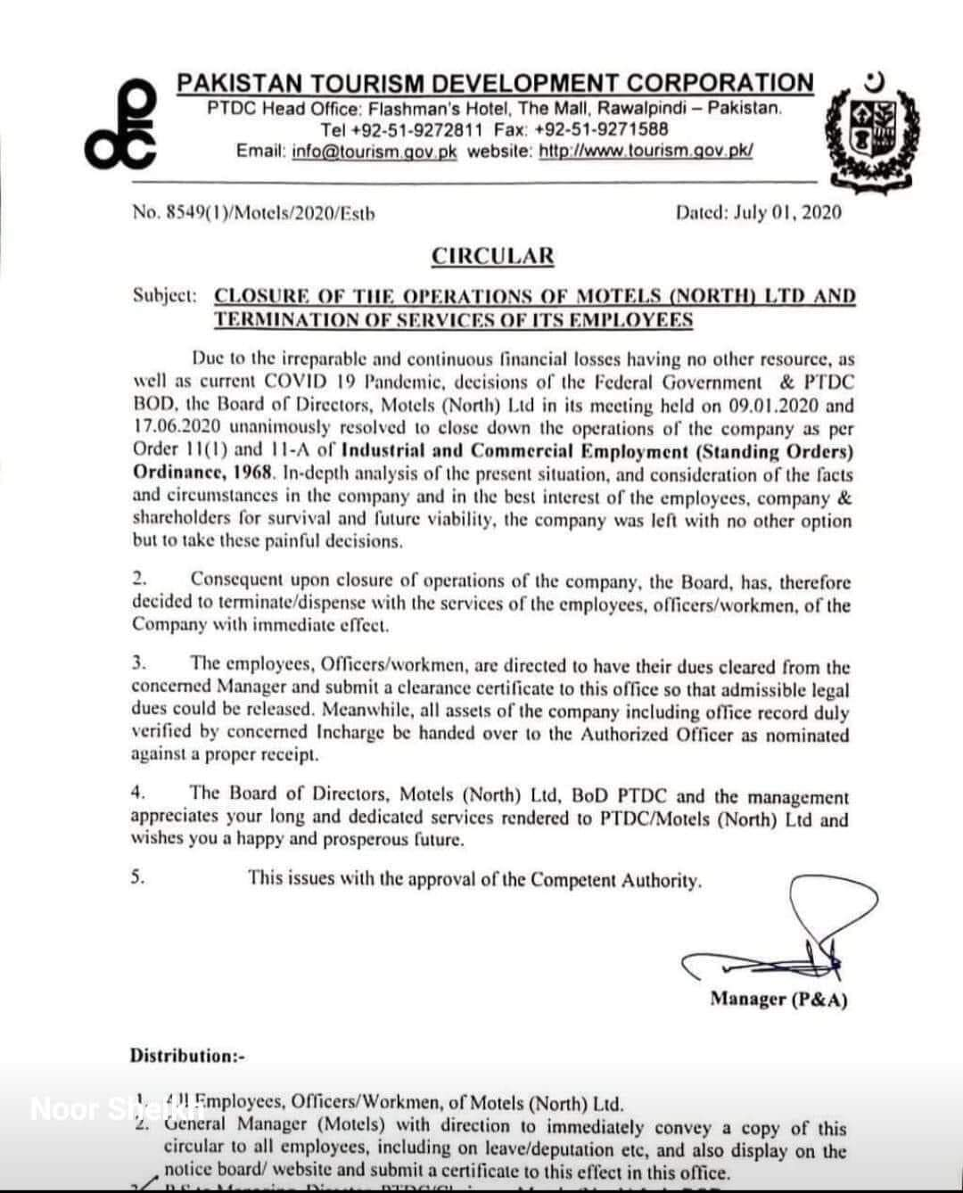 PTDC - The Pakistan Tourism Development Corporation (PTDC) has announced to shut down its Motels in northern areas and terminate the services of its employees, prompting many to raise eyebrows over the incumbent government's intention to promote the tourism industry and additionally when it would also spark further unemployment. As per a Circular released on July 1, the decision to close down the Operations of PTDC Motels in northern Pakistan followed an in-depth analysis of the situation marked by the Coronavirus (COVID-19) pandemic. It was stated that irreparable and continuous financial losses left no option but to take painful decisions resulting in the closure of Motels and termination of services of PTDC employees. Sources said that the PTDC was shutting down its 30 Motels in northern Pakistan; therefore, 320 employees were being laid off.