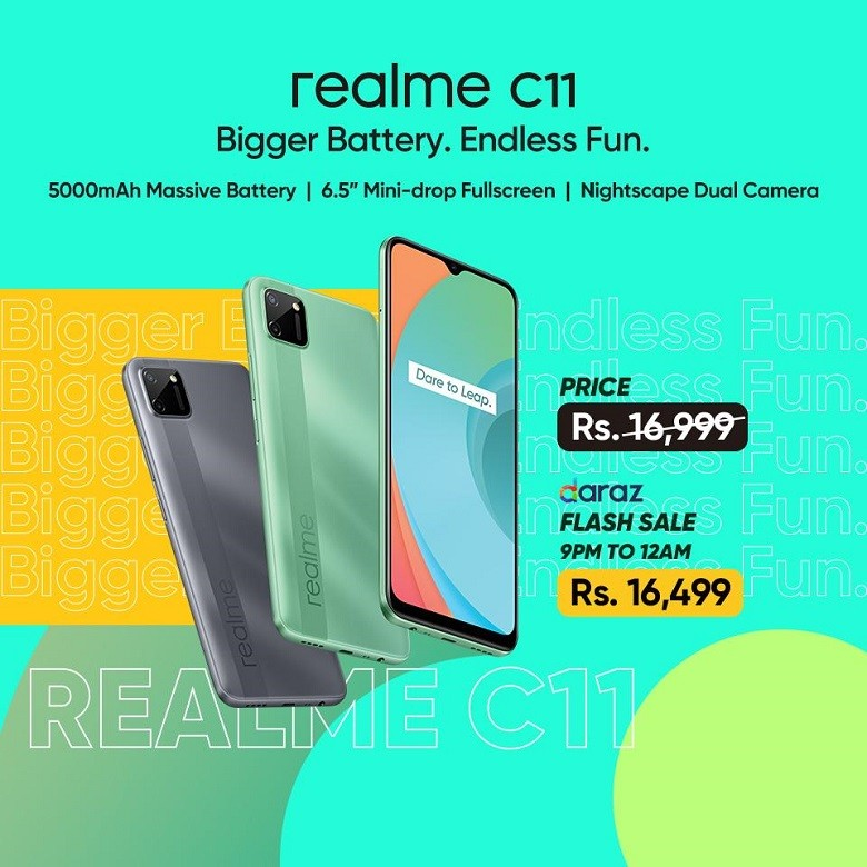 """realme C11 - realme Pakistan has revealed its second C series phone in 2020. The realme C11 is an entry-level smartphone. Launching on Monday & will be on Hot Sale Price Rs 16,499 on Daraz from 9 pm to 12 pm. The realme C11 is one of the first smartphones, housed with new MediaTek Helio G35 chipset. The realme C11 is powered by the MediaTek G35 SoC, a chip designed for gaming on budget smartphone. realme C11 The realme C11 is priced at Rs 16,999 with flash sale price for today at 164,999 is introduced in a single 2GB RAM and 32GB storage configuration. However, the device has a dedicated microSD card slot for storage expansion up to 256GB. It is available in two colour options – Mint Green and Pepper Grey. Which will be available for sale by July 23, 2020 Starting with the display of the device, the realme C11 flaunts a 6.52-inch HD+ mini-drop display with a tall 20:9 aspect ratio and a 1,600 x 720 pixel resolution. The display of the device is protected by a Corning Gorilla Glass 3. The device measures 164.4×75.9×9.1mm and weighs in at 196 grams. On its rear is perhaps the most attractive feature of the phone. It has a tidy-looking back panel, one that highlights what realme calls as a Geometric Art Design. The panel also sports a texture that should help users in terms of grip. For the photography enthusiasts out there, the Realme C11 comes with a dual rear camera setup which includes a 13MP primary camera with f/2.2 aperture and a 2MP depth sensor with f/2.4. At the front, the realme C11 sports a 5MP selfie shooter with f/2.4 aperture. The back panel of the device also sports a dual-camera setup, housed in a modern square-like module. Note that the phone is the first one from the brand to wear a new camera layout. The system comprises AI-powered 13MP wide and 2MP depth sensors. Also, there is an LED flash, HDR, and panorama. The realme logo can be seen as well. Other key camera features include portrait mode, chroma boost, """"slo-mo"""" video, and the capability to sh"""