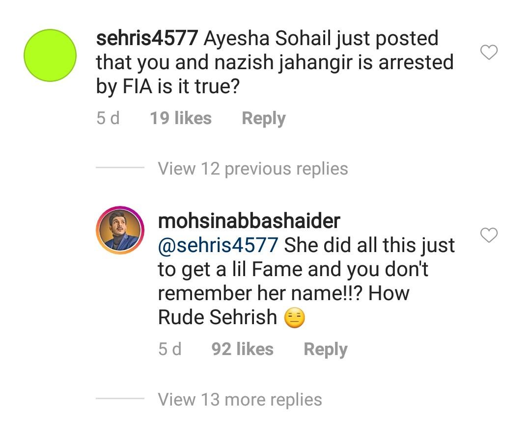 Here is how fans inquired him about his arrest in comments section and Mohsin's response to it.