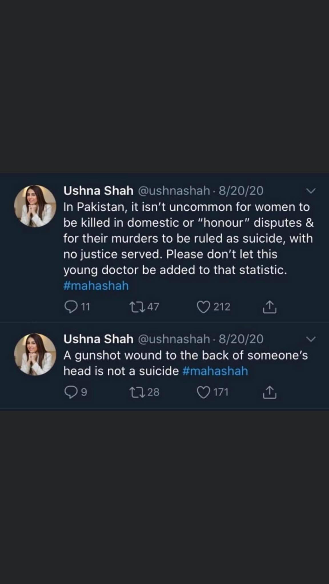 Ushna Shah involvement in Dr. Maha Shah's case