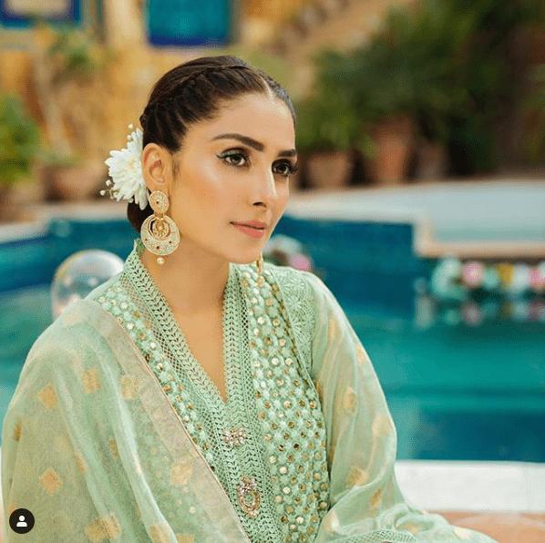 Ayeza Khan wearing a green attire for a brand shoot