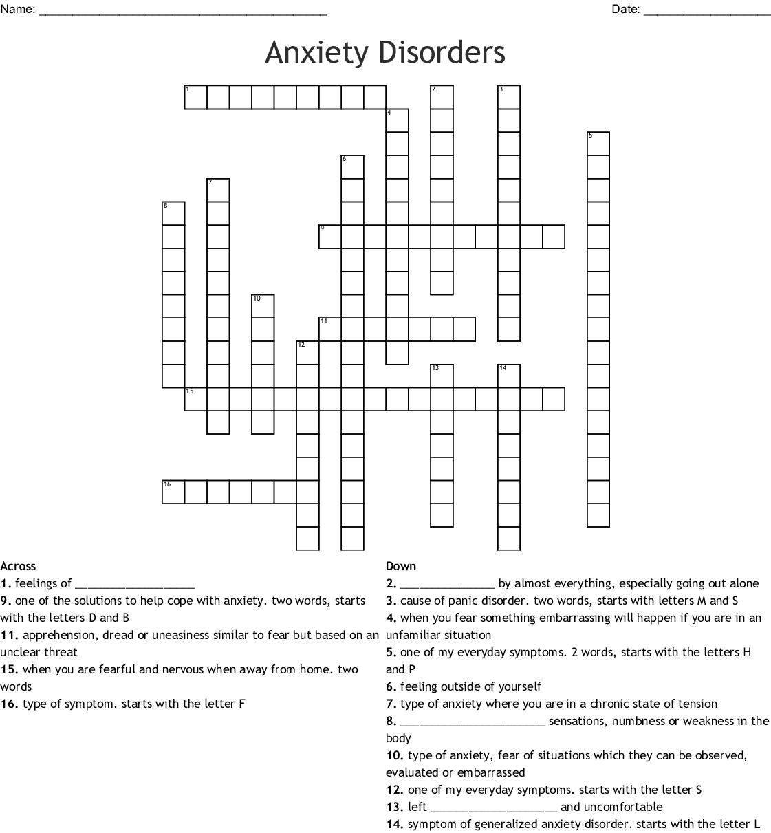 Teenager Anxiety Crossword