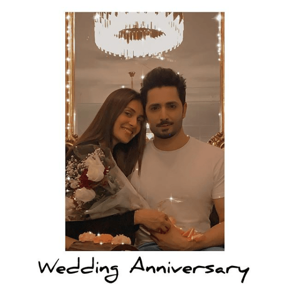 """The beauty queen and one of the best actresses Ayeza Khan has shared adorable clicks to mark wedding anniversary celebration. It's been 6 years that Ayeza Khan and Danish Taimoor are leading a happy married life. The has couple always remained in the limelight for being the most good looking couple. Ayeza Khan Penned Wedding Anniversary Wish on Instagram Ayeza Khan and Danish Taimoor celebrated their 6th wedding anniversary on Sunday, 16th August. They got married in the year 2014. A beautiful picture from the happy moments of anniversary made fans and celebrities shower best wishes for the couple on Instagram. Taking this special occasion to social media, Ayeza penned a wedding anniversary note having these affectionate words: """"I don't believe in soulmates. I don't believe there is a perfect human being for every one of us out there. It's just that every relationship takes time, sacrifices and a ton of hard work to succeed."""" She further said, """"It's been six years since our marriage and almost more than 12 years since I have known him, and I can tell you one thing. I have never felt more comfortable or safe around anyone else but him. And I am nothing but grateful for that."""" """"He may not be my soul mate but he's definitely someone that my soul needs,"""" Ayeza Khan added with a hashtag #6thweddinganniversary. Ayeza Shares Adorable Clicks on Wedding Anniversary Like every year, Ayeza Khan considered to make the wedding anniversary a better celebration by sharing the moments with her fans. Here we have got some of the fascinating clicks she shared on her Instagram. Ayeza Khan Share this sensational photo shoot with her husband Danish Taimoor and fans are drooling over it. Everyone wished the couple best for their future and expressed their desire to see them as a happy couple always. Ayeza and Danish's Kids Ayeza Khan and Danish Taimoor, the gorgeous couple is blessed to have to kids i.e. a daughter named Hoorain and a cute son named Rayan. They enjoy every moment togethe"""