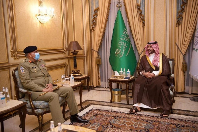 General Qamar Javed Bajwa - The Chief of Army Staff (COAS) General Qamar Javed Bajwa met the Saudi Deputy Minister of Defense His Royal Highness Prince Khalid bin Salaman bin Abdulaziz. During the meeting, matters of mutual interest including bilateral defence, security cooperation and regional security were discussed, the Inter Services Public Relations (ISPR) said. The Director General Inter-Services Intelligence (ISI) Lt General Faiz Hameed was also present in the meeting. Earlier on Monday, the COAS reached the Kingdom of Saudi Arabia (KSA) on an official visit and met the Chief of General Staff General Fayiadh bin Ha'med Al-Rowaily and the Commander Joint Forces Lieutenant General Fahad bin Turki Al Saud. The Pakistan-Saudia Arabia military to military ties including training exchanges were discussed in the meetings.