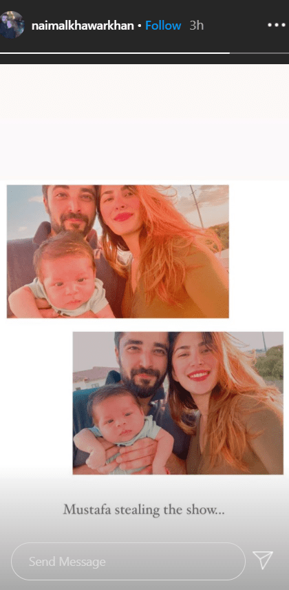 """Hamza Ali Abbasi Shares First Family Picture With The Baby Hamza Ali Abbasi and Naimal Khawar Khan got married in a rather surprising way. The couple surprised their fans with a sudden announcement followed by the marriage ceremony itself on 25th August 2019. Many of the fans of both were disappointed to see the eligible bachelors tying the know. However, soon after, the love for the couple surpassed everything and people actually started keeping a tab on what they were both up to together. When they hit us with surprising good news of a baby, the internet went on a frenzy with much-deserved congratulations. Hamza Ali Abbasi & Naimal Khawar's Son On 3rd August 2020, a picture shared by Hamza Ali Abbasi took the internet by storm. The Pyary Afzal actor shared the picture of a cute baby boy (obviously his son) with his name, Muhammad Mustafa Abbasi. Nobody had a clue about this little bundle of joy coming, and this was indeed a best news in one of most unfavorable times. Here is the picture he shared: Now on their first anniversary, not even a month after the baby was born, the couple has shared their first family picture and it is every sort of adorable. The Abbasi Family Picture Hamza Ali Abbasi and Naimal Khawar celebrated their first anniversary on 25th August 2020. The couple, today, shared their intimate family celebrations with the newborn on their Instagram accounts. How beautiful it is to celebrate such a big event in a small manner with the adorable child. Here is what Hamza posted on his Instagram account today: Naimal also shared a similar picture with the caption: """"Couldn't be more grateful to Allah🙏🏻 Anniversary ♥️"""" Here is the picture: Baby Mustafa Steals The Show In both their posts on the Instagram account, a rather unfazed and completely clueless Muhammad Mustafa Abbasi steals the show. He looks not only cute but the perfect copy of his father and mother. The picture is every level of heartwarming beautiful it can get. Naimal also shared a picture on"""