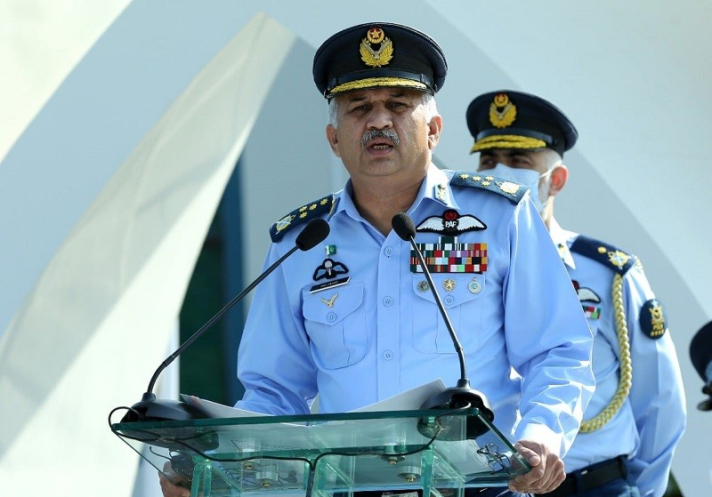 """Air Force Day - The Chief of Air Staff Air Chief Marshal Mujahid Anwar Khan has said that Pakistan's valiant armed forces are well versed in protecting our borders and people, and are fully capable of defeating the enemy. While addressing the Martyrs' Day Ceremony held at Air Headquarters in Islamabad on Monday in connection with the Air Force Day, the Air Chief said today, we salute our martyrs and veterans for their determination, courage and spirit of sacrifice and renew our pledge that we will never allow any harm to our sacred homeland. The Air Force Day is annually observed with national zeal on September 7 to commemorate the dexterity and valour of the defenders of air space of the Country against Indian aggression in September 1965 war. Highlighting the current situation in Kashmir, the Air Chief said that we also express our solidarity with the Kashmiri brothers and sisters who have been fighting against oppression and tyranny for seven decades. To pay homage to the martyrs', the Air Chief laid floral wreath at the Martyrs' Monument and offered """"Fateha"""". Earlier in the morning, the Air Officer Commanding Southern Air Command Air Vice Marshal Ghulam Abbas Ghumman laid floral wreath at the grave of Nishan-i-Haider Pilot Officer Rashid Minhas in Karachi behalf of Chief of the Air Staff. Air Vice Marshal Abbas Ghumman also offered Fateha for the Shaheed."""