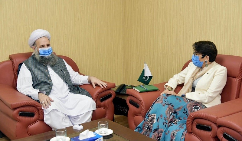 European Union - The European Union Ambassador to Pakistan Androulla Kaminara has said that the European Union is with Pakistan in its efforts to promote interfaith harmony. In a meeting with the Federal Minister for Religious Affairs and Interfaith Harmony Pir Noor-ul-Haq Qadri in Islamabad on Tuesday, the envoy said that the European Union (EU) will always continue to support Pakistan's efforts to promote inter-faith harmony. During the meeting, relations between Pakistan and the European Union, Pakistan's emerging positive image at the international level and matters of mutual interest were discussed.  The EU ambassador said that the recent Coronavirus (COVID-19) epidemic has severely affected all human beings but life is slowly returning to the normal.  The minister thanked the ambassador and said that Pakistan has always been vocal in protecting the rights of minorities around the world.  Pir Noor-ul-Haq Qadri said that Pakistan is prominent in its region in terms of providing freedom and rights to minorities.  The religious affairs minister said that the present government's Kartarpur Corridor project is a prime example of interfaith harmony.  The minister told that recently, a National Minorities Commission has been set up for the protection and welfare of the rights of minorities and for the first time, the Head of Commission has been appointed from the Hindu Community to better represent the minorities.  Pir Noor-ul-Haq Qadri told the delegation that the National Minorities Commission would be further improved through an Act of Parliament while inter-faith harmony committees were being organized at the district level.  The federal minister further said that negative propaganda was being spread against Pakistan on the issue of forced conversion.