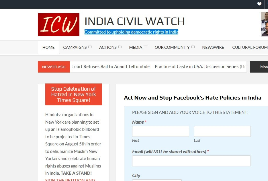 India Civil Watch alleges staff of Facebook for its involvement in hate mongering against Muslims